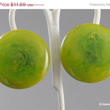 Green Bakelite Earrings Marbled Chunky Button Style 60s