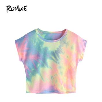 Summer Crop Tops Women Sleeve Watercolor Tee Multi color Tie Dye Print Short Sleeve Casual T-shirt