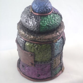 Steampunk Industrial Jar, metallic jewel tones, polymer clay sculpted over glass jar with lid
