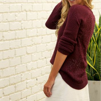 Burgundy Open Knit Sweater