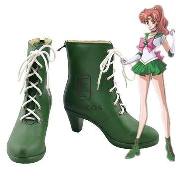 Anime Sailor Moon Sailor Jupiter Cosplay Party Shoes Green Boots Custom-made
