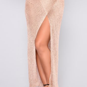Trophy Wife Crochet Skirt - Rose Gold