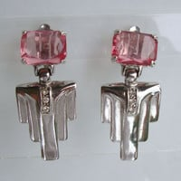 Pink Art Deco Style Dangle Clip On Earrings Octagon Cut Rhinestones Vintage Jewelry