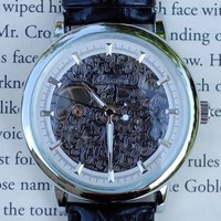 Silver Skeleton Wind-Up Wrist Watch | Wicked Clothes
