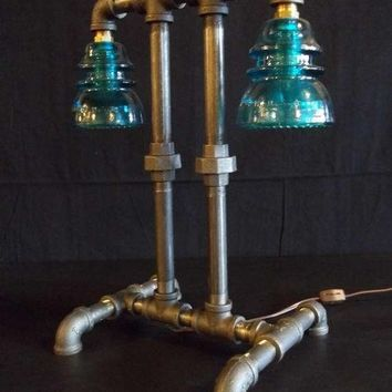Industrial Style Desk Lamp made with Black Iron Pipe and Vintage Insulators