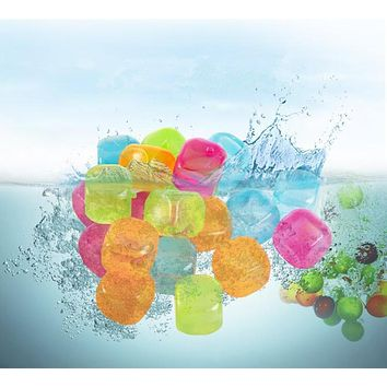 WOWCC 6/20pcs Star And Square Shaped Ice Cubes Plastic Reusable Multicolour Ice Cube Physical Cooling Tools Party Tool