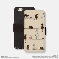 Cute Cartoon Cat iPhone Samsung Galaxy leather wallet case cover 072