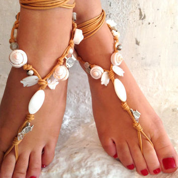 Barefoot sandals. wedding sandals. White  boho barefoot sandals, barefoot sandles, crochet barefoot sandals, , yoga, anklet  hippie shoes