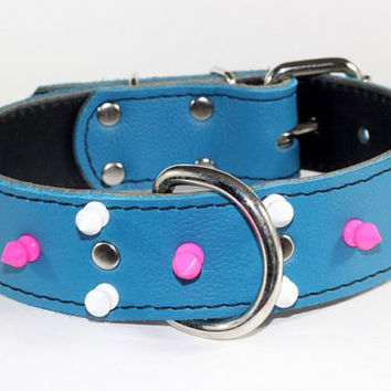 "1.5"" Turquoise Leather Dog Collar - Pink And White Spiked Dog Collar - Leather Spiked Dog Collar"