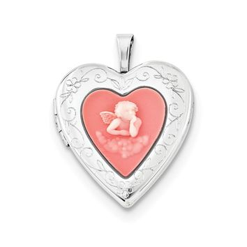 Sterling Silver 20mm Pink Agate Angel Cameo Locket