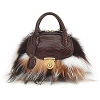 Ferragamo Fox Fur Mini Cacao Bag - Shop Luxury Bags | Editorialist | Bags | The Editorialist