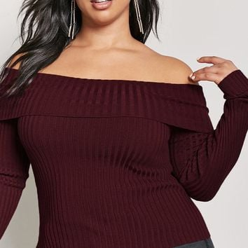 Plus Size Ribbed Off-the-Shoulder Sweater