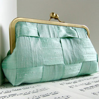 Mint green silk clutch purse woven clutch bag Spring by toriska