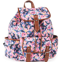 Aeropostale Womens Floral Backpack - Black, One