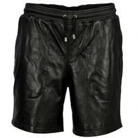 VIPARO | Black Lambskin Leather Shorts - Melvin