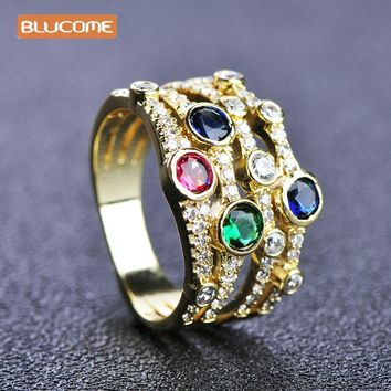 Blucome Colorful Rhinestones Wide Rings For Women Girls Wedding Party Jewelry Copper Zircons Material Ring Anel 2017 New Style