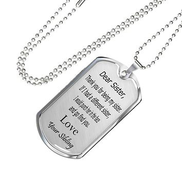 Dear sister punch in face love your sibling silver and gold necklace