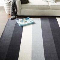 Stripestep Cotton Dhurrie Rug - Black/Stone White
