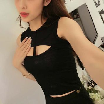 Summer Female Sexy Tees Chest Hollow Out Sleeveless Tops Women Short Tanks Top