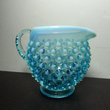 Vintage Fenton Small Blue Opalescent Glass Hobnail Pitcher