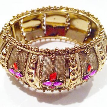Ethnic Bangle Hinged Bracelet Gold Red Purple Rhinestones Cuff Bold Vintage Jewelry