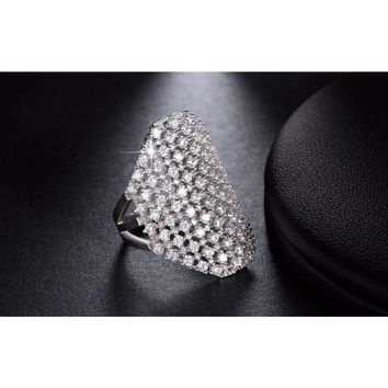 Cocktail Ring Full of Sparkle Clear Cz Rhodium Plated Ring