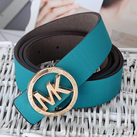 MK Woman Men Fashion Smooth Buckle Belt Leather Belt