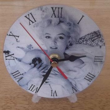 Marilyn Monroe memorabilia shabby chic cd clock gift idea | Time4All - Housewares on ArtFire