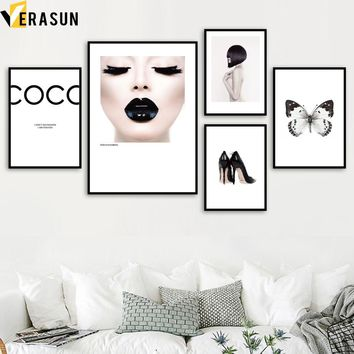 VERASUN Girl Butterfly Wall Art Canvas Painting Posters And Prints Pop Art Poster Wall Pictures For Living Room Decor Quadro