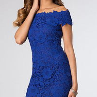 Short Off the Shoulder Lace Dress by Betsy and Adam