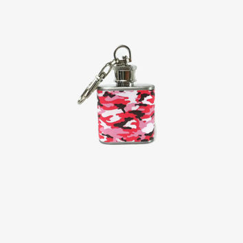 Stainless Steel Hip Flask with pink camo wrap - 4oz 6oz 2oz 1oz - small print camouflage camoflauge