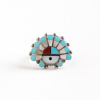 Vintage Sterling Silver Native American Chief Headdress Ring - Zuni 1960s Retro Size 7 1/4 Inlay Turquoise Coral Onyx Mother Pearl Jewelry