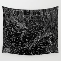 Nocturnal Animals of the Forest Wall Tapestry by Sophie Corrigan