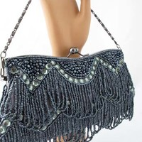 Beaded Evening Bags-Vintage Style Gunmetal Gray Beaded Fringe Clutch Purse