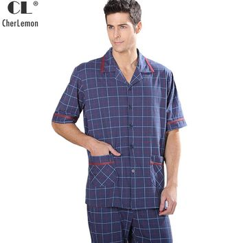CherLemon Men's Summer Short Sleeve Cotton Knitted Pajama Set Casual Soft Cozy Male Plaid Pijama Sleepwear Large Size Homewear