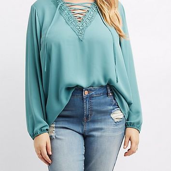 Plus Size Crochet-Trim Lace-Up Blouse