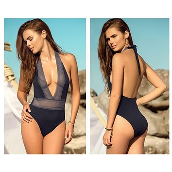 Mapale 6948 V-Neckline One Piece Swimsuit with Lace Elastic Trim Color Navy