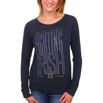 Notre Dame Fighting Irish Women's Burnout Meshey Long Sleeve Raglan T-Shirt – Navy Blue