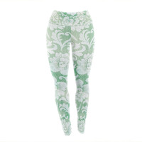 "Heidi Jennings ""Daydreaming"" Green Floral Yoga Leggings"