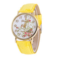Fashion Women Flowers Flower Dial Bracelet Watch Casual