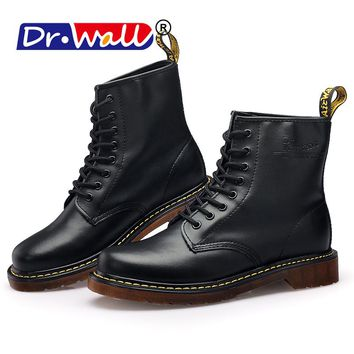 Mens Winter Boots Warm Martin Boots Round Toe Lase-up Ankle Boots Ladies Leather Combat Booties Fashion Martens Boots For Women