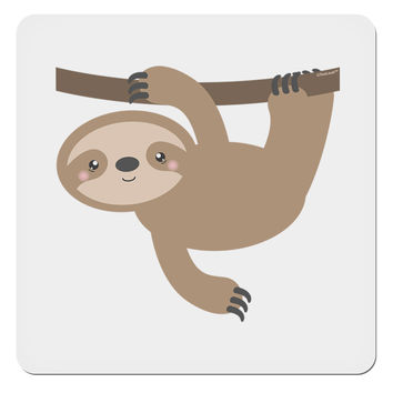 "Cute Hanging Sloth 4x4"" Square Sticker"
