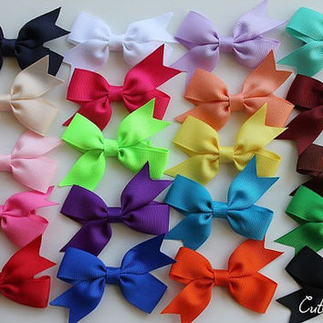 Baby hair bows-  Infant hair clip with none slip grip - newborn baby - baby shower gift . You can choose colors. Set of 12