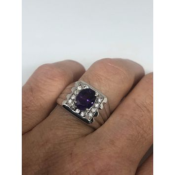 Vintage purple Amethyst Ring 925 Sterling Silver gothic SIze 7