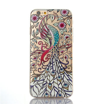 iphone 6 Plus 6SPlus Soft TPU Silicon Ultra thin Clear Transparent Phone Case with Cute Owl Wolf Peacock Design Back covers