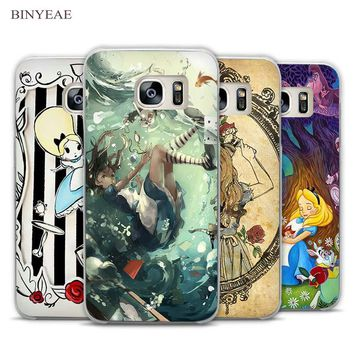BINYEAE Tattooed Alice in Wonderland Clear Phone Case Cover for Samsung Galaxy Note 2 3 4 5 7 S3 S4 S5 Mini S6 S7 S8 Edge Plus