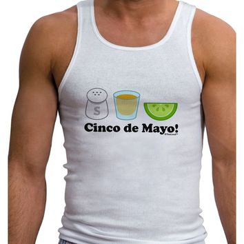 Cinco de Mayo Design - Salt Tequila Lime Mens Ribbed Tank Top by TooLoud