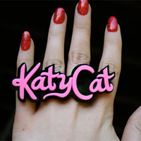 Custom Katy Perry Font Name Plate Ring (1-6 letters)