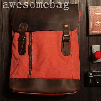 CANVAS bag BACKPACK Superior Genuine Cow Leather Briefcase / Messenger bag / Laptop bag / Men's leather Bag(6659)