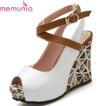 MEMUNIA 2017 wedges high heels women sandals platform slingback casual shoes woman sum